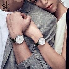 Shengke Couple Watches Women Men Leather Watch