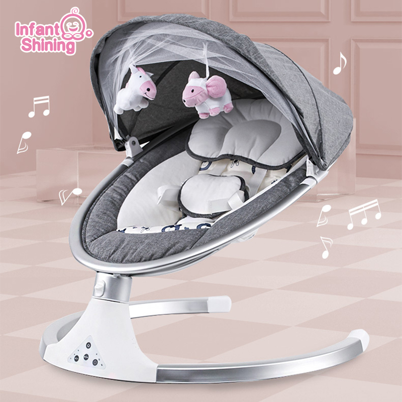 Infant Shining Smart Baby Rocker Electric Baby Cradle Crib Rocking Chair Baby Bouncer Newborn Calm Chair Home v5 VC