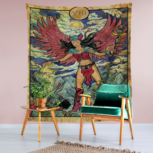 Image 5 - Tarot Card Old Vintage Tapestry Witchcraft Astrology Star Moon Goddess Sea Nymph Mermaid Bed Decoration Blanket Wall Cloth