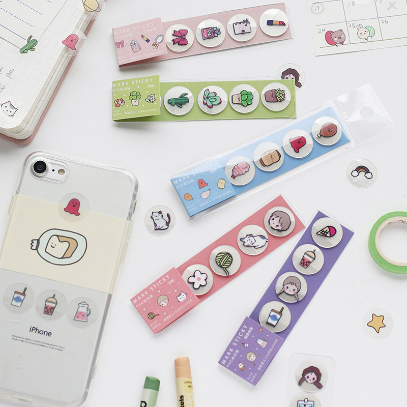 60PCS Cute Cartoon Food Stickers Kawaii Succulent Plants Decor PVC Stickers For Kids Scrapbooking Diary Supplies Stationery
