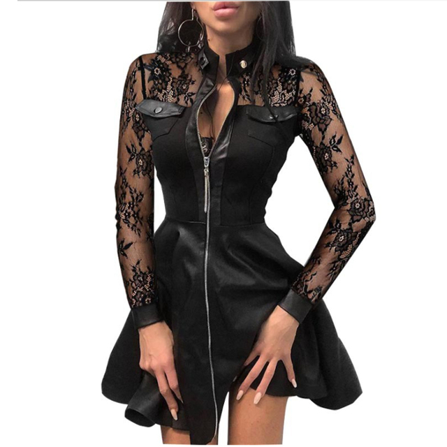 Women Plus Size 5XL Summer Lace Sleeve PU Faux Leather Mini Dress V-Neck Zipper Party Dress Sexy Bodydon Dress 1