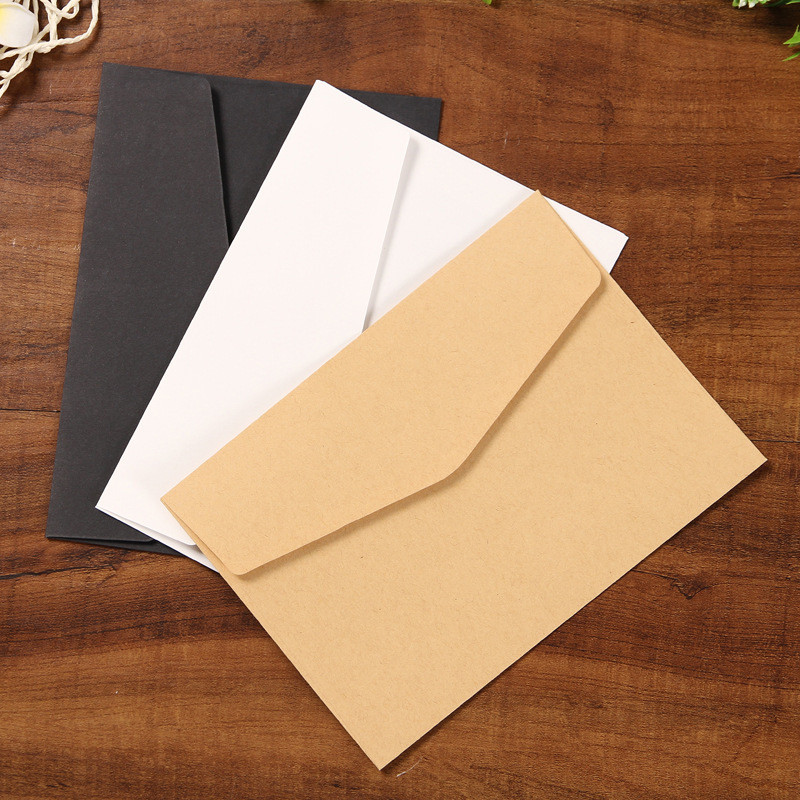 Coloffice 10PCs Simple Solid Color Blank Envelope Greeting Card Postcard Storage Envelope Bag Kraft White Black Office Envelope