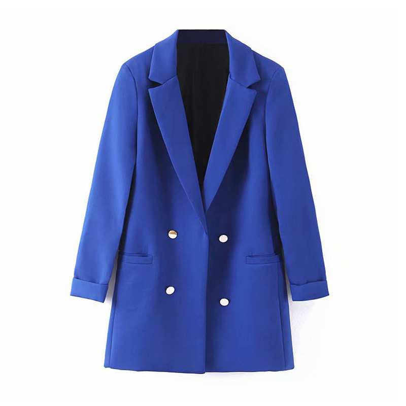 Women Vogue Blue Blazer Decorate Button Open Stitch Pockets Back Split Blazers Female Work Wear Stylish Coat