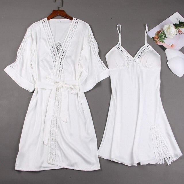 Women Robe Gown Sets Ladies Sexy Lace Lounge Sets Pijama Long Sleeve Silk Nightwear Bathrobe Nightdress Two-Piece Sleepwear Sets