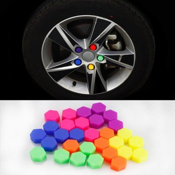 21mm 20pcs/bag New Wheel Nut Covers Car Bolt Caps Wheel Nuts Silicone Covers Practical Hub Screw Cap Protector image