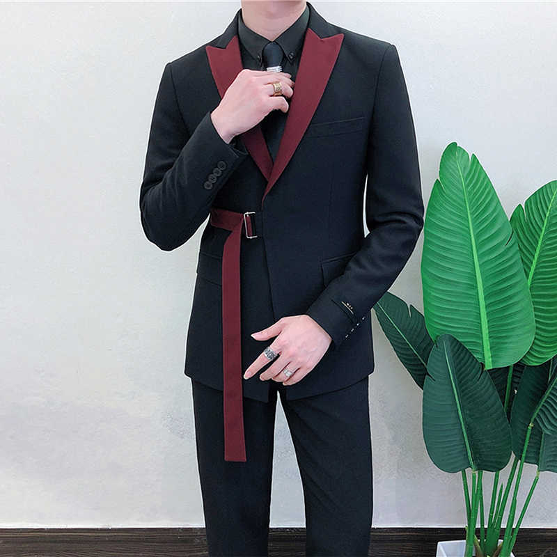 Ternos Masculino 2020 Spring Long Sleeve Belt Decoration Man Suit Korean Groom Men Suit Slim Fit Weave Bring Full Dress Suit Man