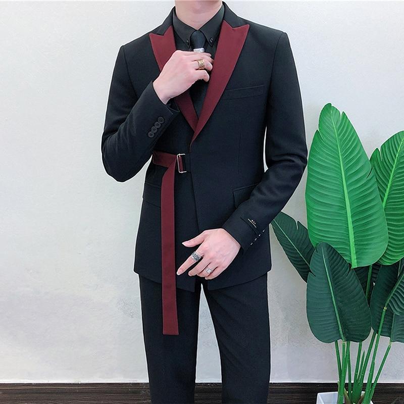 Ternos Masculino 2020 Spring Long Sleeve Belt Decoration Man Suit Korean Groom Men Suit Slim Fit Weave Bring Full Dress Suit Man