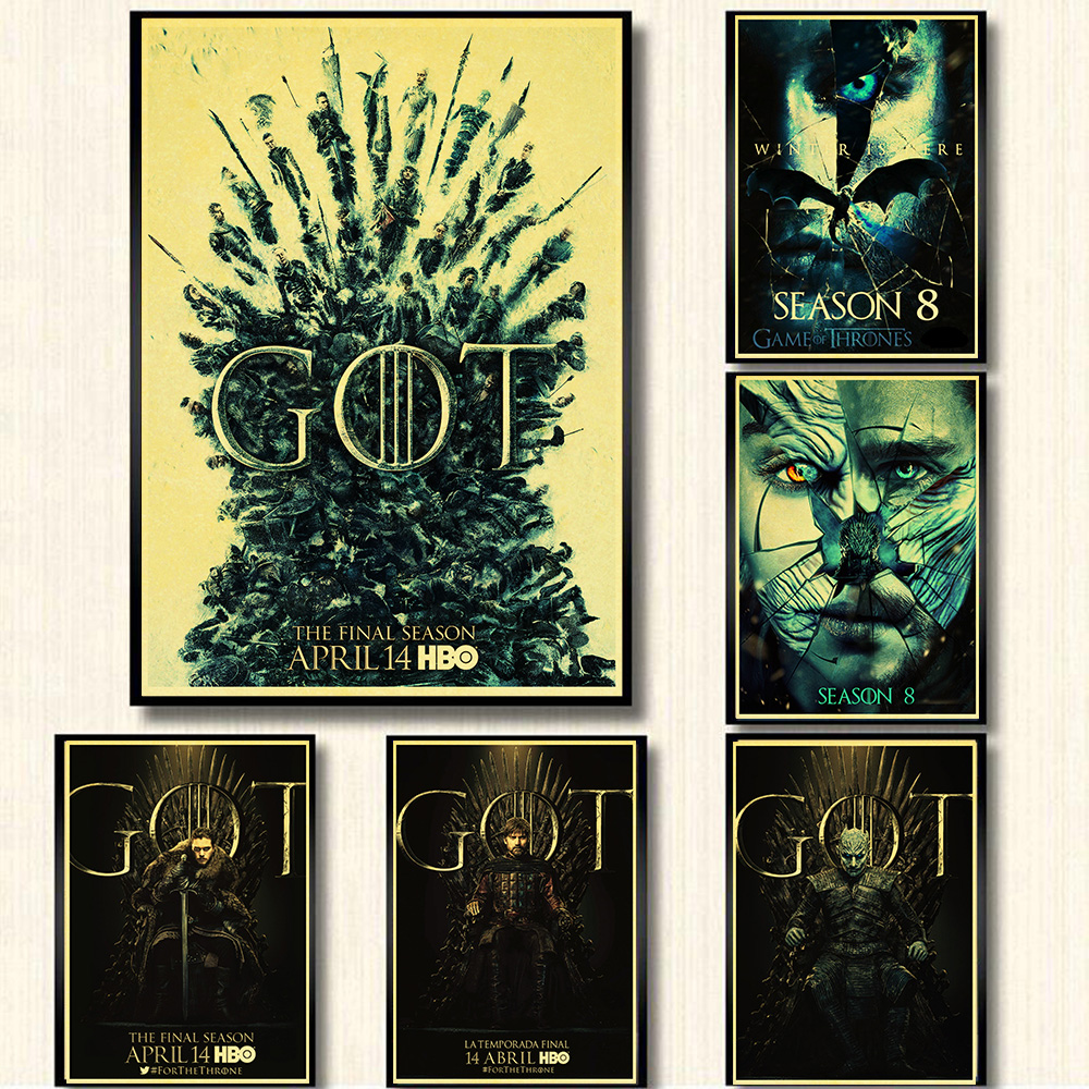 Hot New Game of Thrones season 8 poster 2019 TV Play Poster and Prints Wall Art Painting For Home Room Decor wall sticker image