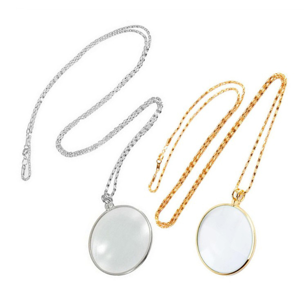 NEW Decorative Monocle Necklace With 5x Magnifier Magnifying Glass Pendant Gold Silver Plated Chain Necklace For Women Jewelry