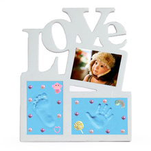 Купить с кэшбэком Baby Hand&Foot Print Hands And Feet Mold Maker Solid Wooden Photo Frame With Cover Fingerprint Mud Set Baby Growth Memorial gift