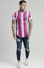 Silk Screen T-Shirt Men Hip Hop Striped Short Sleeve Tops SF