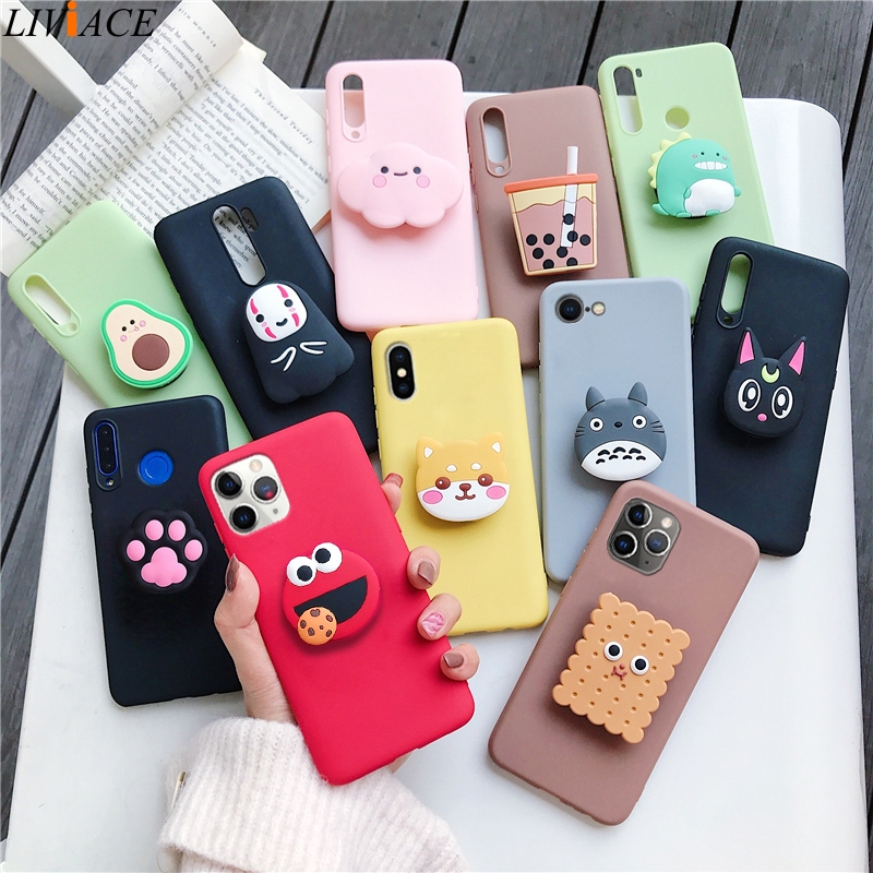 3D Silicone Cartoon Case For Iphone 12 11 Pro Max / For Iphone X Xr Xs Max 6 7 8 Plus 6S 5S Se 2020 Phone With Holder Stand