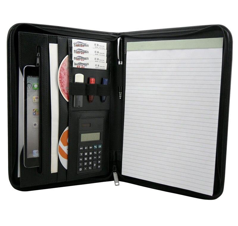 Multifonctionnel PU cuir a4 padfolio dossier dossier document sac organisateur manger sac avec fermeture à glissière calculatrice CD fente poche