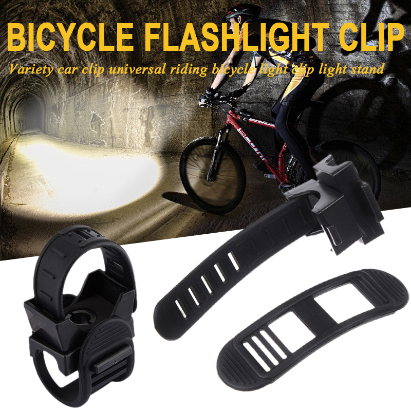 Flashlight Bracket Bicycle Clip Mountain Bike Outdoor Silicone Black Durable Portable Practical Cycling Tools