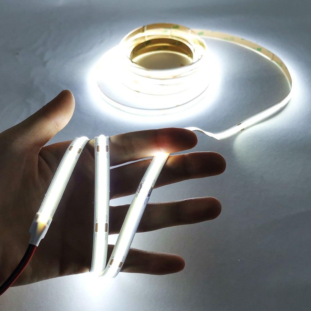 Dimmable 24V 12V Flexible LED COB Strip Light Bar Soft COB Tape For Decoration Lighting Red Blue Green Warm Cold White Lamp