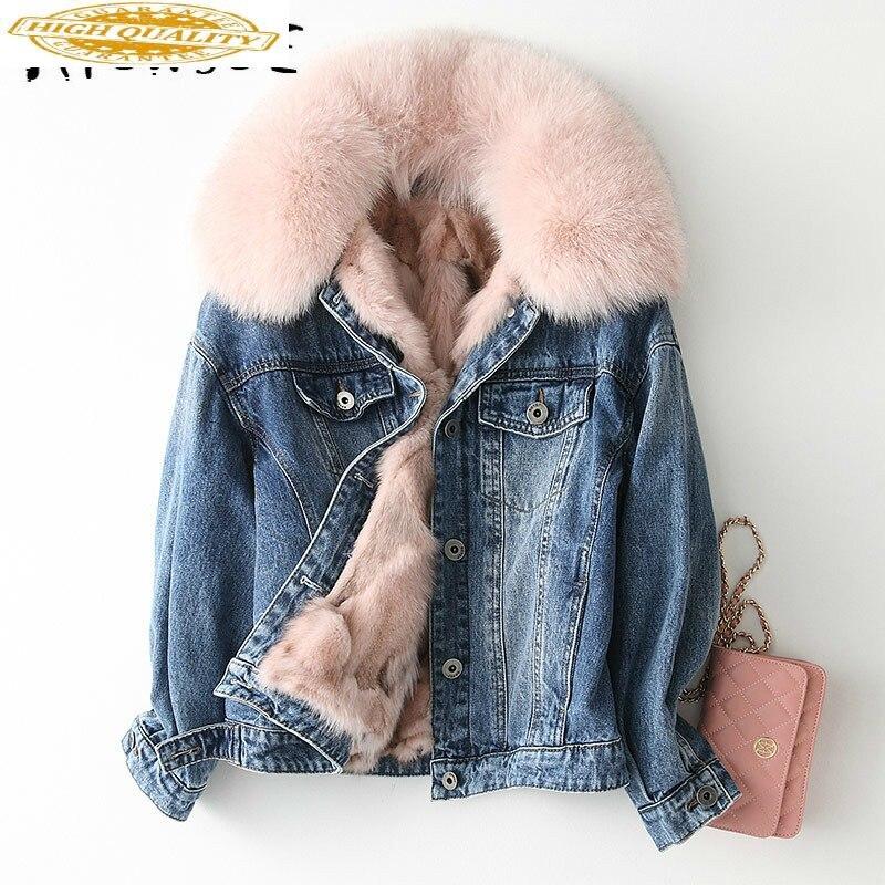 Real Fur Coat Women Fox Fur Coat Korean Winter Coat Women Fox Fur Collar Warm Parka Manteau Femme KQN68654 YY1579