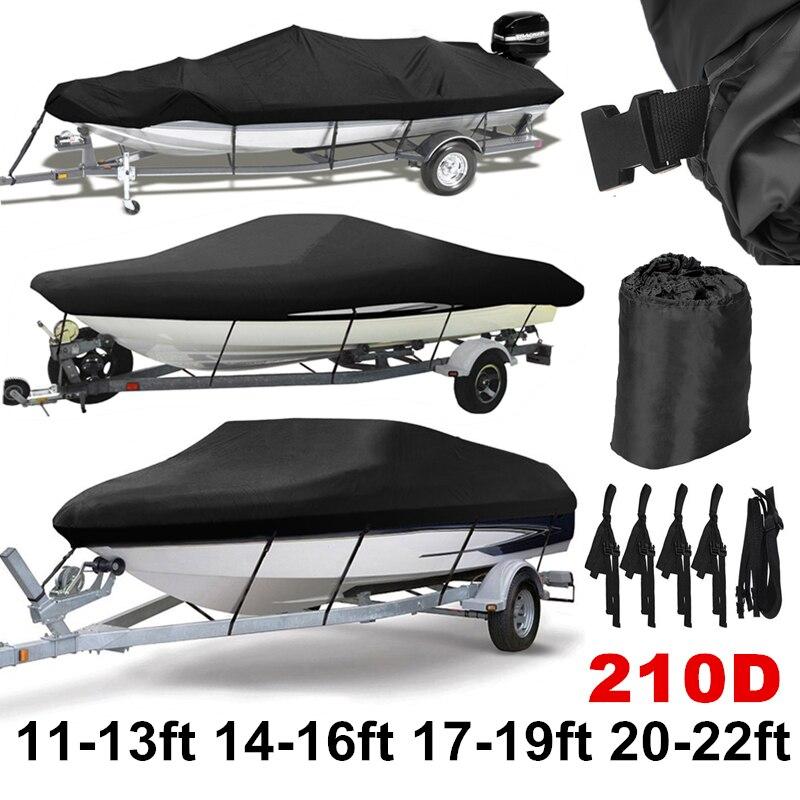 Black 210D 11-22ft Trailerable Boat Covers Waterproof Sunproof UV Protector Heavy Duty Speedboat Boat Cover Fishing Ski D45