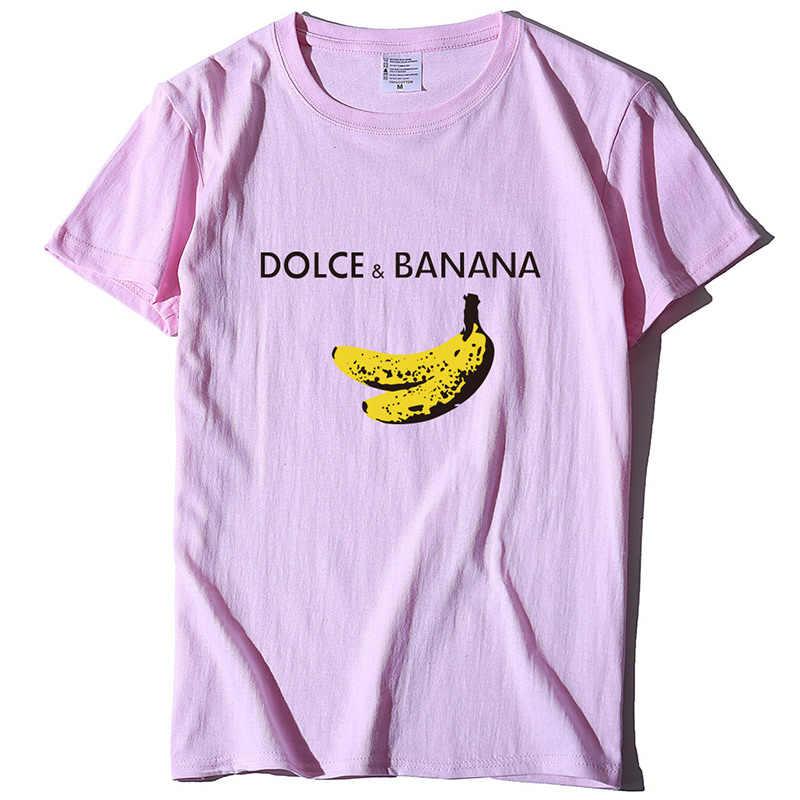 Women's Dolce & banana 프린트 T 셔츠 여름 반팔 하라주쿠 웃긴 T 셔츠 여성 2020 Fashion Casual Cute Tops Tees Lady