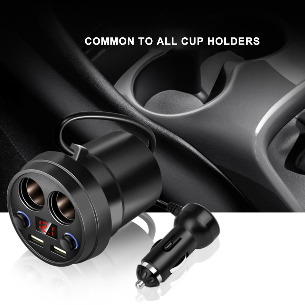 Cup Power Socket Adapter 2 USB Car Charger Cigarette Lighter Splitter Mobile Phone Chargers With Voltage LED Display