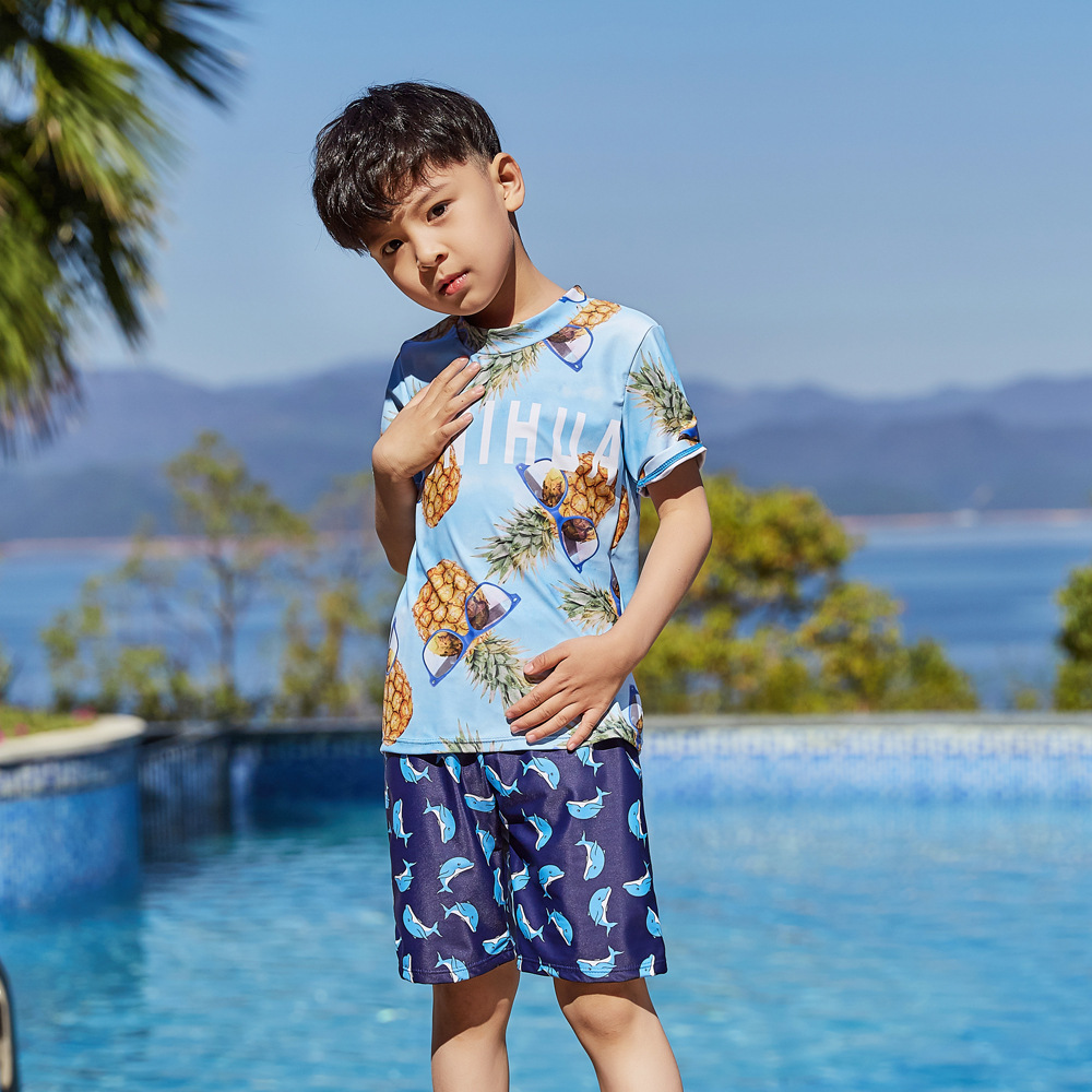 New Style Male Baby Bubble Hot Spring Swimsuit For Boys Handsome Cute Sports Children Split Type Swimsuit