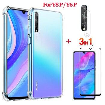3 en 1 Lente , vidrio + funda transparente para Huawei Y6P Y8P 2020 cristal templado Y8 6 P protector pantalla suave de silicona Y8P Y6P 2020 funda screen protector Y6P 2020