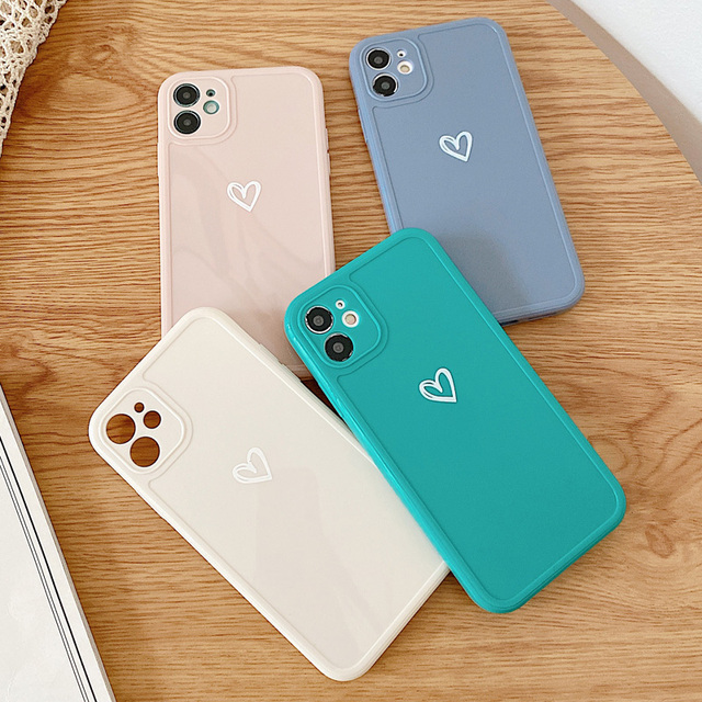 Love Heart Phone Case For iPhone 11 12 Pro Max 7 8 Plus X XR XS Max Candy Color Square Frame Back Cover For iPhone 7 8 Plus 6