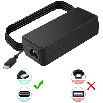 65W USB C Charger for Lenovo Yoga 720 720-13 720-13IKB 80X6 ADLX65YCC3D ADLX65YLC3D ADLX65YDC3D Laptop Type C Adapter Power Cord image