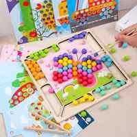 93 pièces bébé Montessori baguettes en bois Clips perles couleur correspondant perle Puzzle conseil mathématiques comptage mains cerveau formation jeu jouet