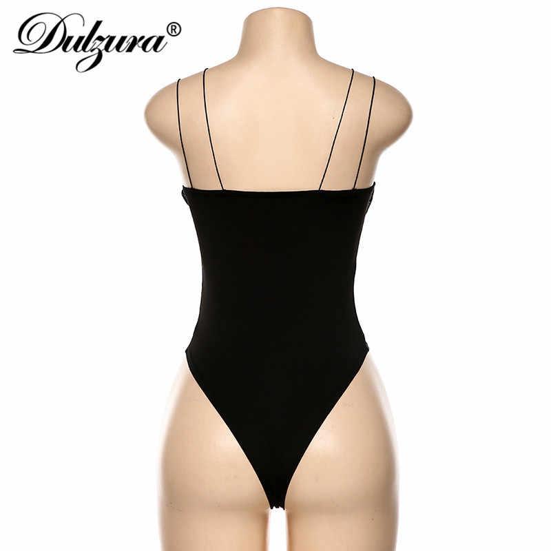 Dulzura ตาข่าย Patchwork บอดี้สูทสายคล้องคอ bodycon backless เซ็กซี่ Slim PARTY เทศกาลเสื้อผ้า 2019 ฤดูใบไม้ร่วงฤดูหนาว streetwear