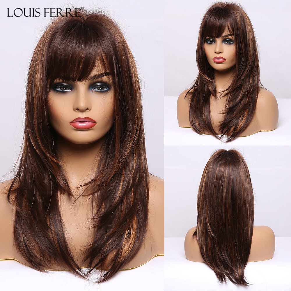 LOUIS FERRE Medium Dark Brown Golden Highlight Wigs Long Straight Layered Synthetic Wigs With Bangs for Black Women Cosplay