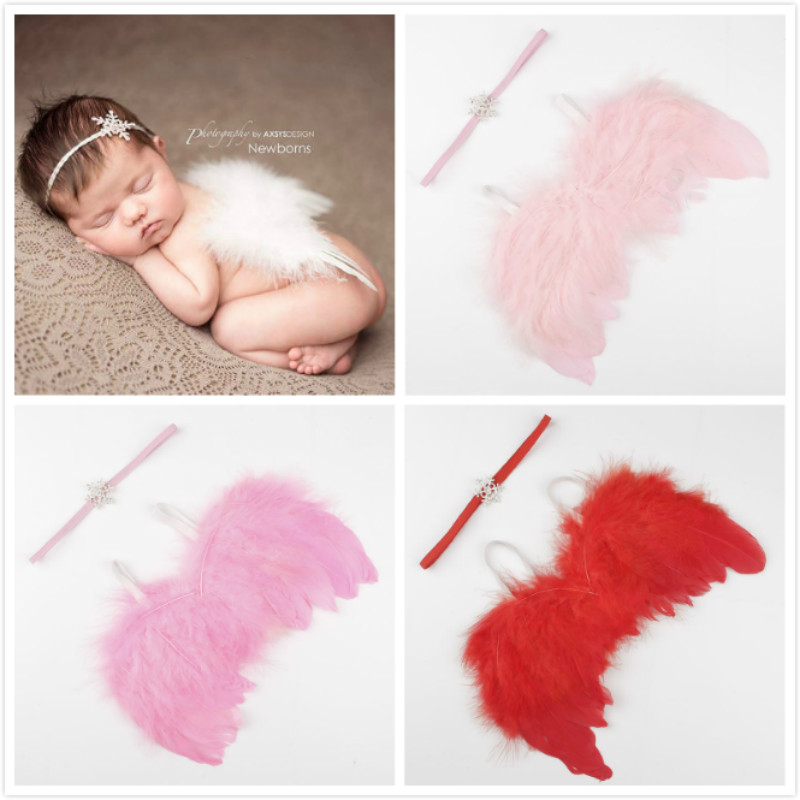 Cute Angel Feather Wings Baby Girls Boys Snowflake Pearl Headband Photo Shoot Hair Accessories For Newborn Photography Props