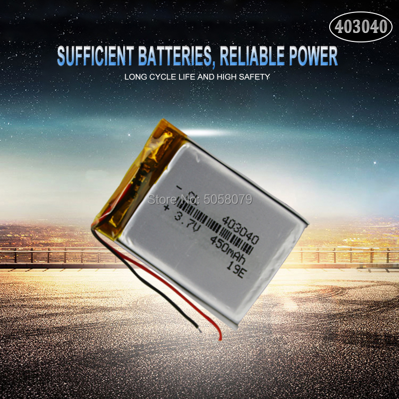 1pcs <font><b>3.7V</b></font> <font><b>450mAh</b></font> 403040 Lithium Polymer LiPo Rechargeable Battery For Mp3 Mp4 PAD DVD DIY E-book bluetooth peaker Camera image