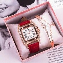 Luxury 2 PCS Set Watch Women Rose Gold Water Drill Bracelet Watch