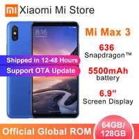 """Global Xiao mi mi Max 3 6 GB ROM 128 GB 5500 mAh Da Bateria Do Telefone Móvel 6.9 """"Tela Cheia snapdragon 636 núcleo octa AI Dual Câmeras OTA"""