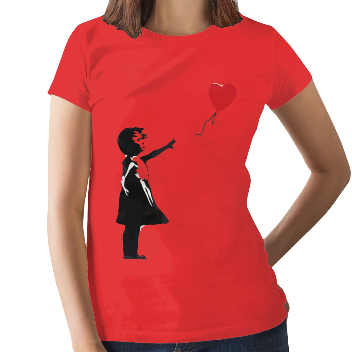 Heart Love T-Shirt Banksy Girl With Balloon T Shirt Trendy Purple Women tshirt Cotton Graphic Ladies Tee Shirt 11