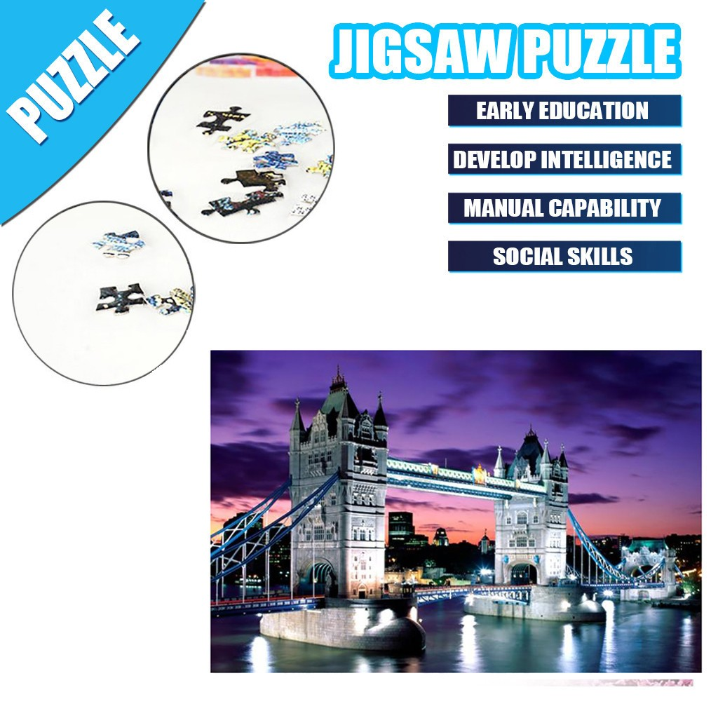 1000 Pieces Jigsaw Puzzle Children's Adult Wooden Puzzle Intelligence Educational Game Toys kids Jigsaw Puzzle toys Stickers 15