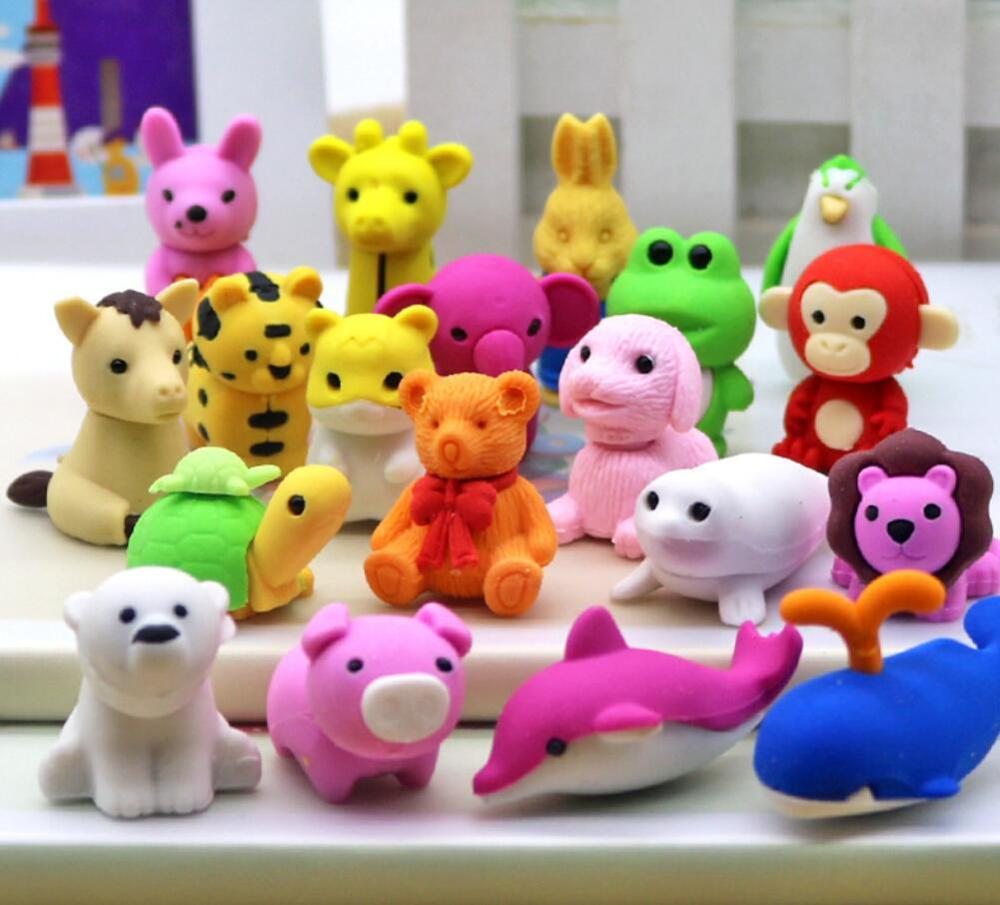 2pcs Mix Animal Rubber Pencil Eraser Stationary School Supplies Items Kawaii Office Creative Cartoon Kids Gift Students Prizes