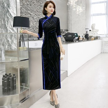 2020 autumn and winter cheongsam new retro improved mid-length dress fashion simple