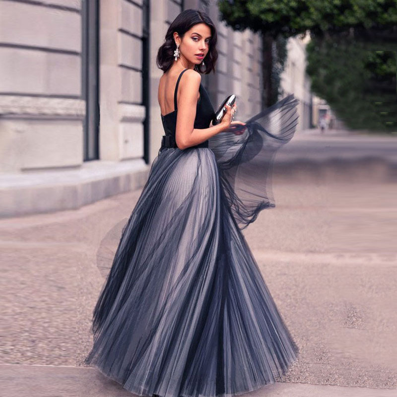 Gray Blue Prom Dresses V Neck A Line Long Tulle Evening Gown Formal Dress Vestidos De Gala Lady Event Gown