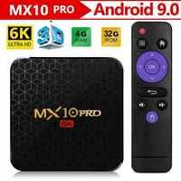 Android 9.0 caixa de tv mx10 pro 4 gb 64 gb 6 k jogador de vídeo allwinner h6 quad core usb 3.0 wifi media tv caixa