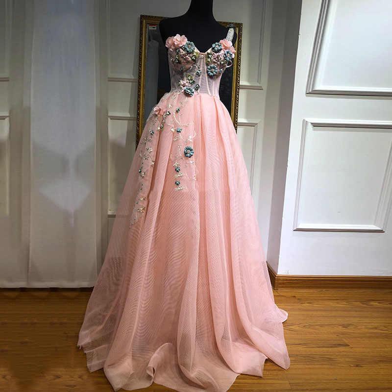 Eightale pembe balo kıyafetleri el yapımı çiçekler boncuklu bir omuz resmi gece elbisesi arapça parti önlük mezuniyet 2020
