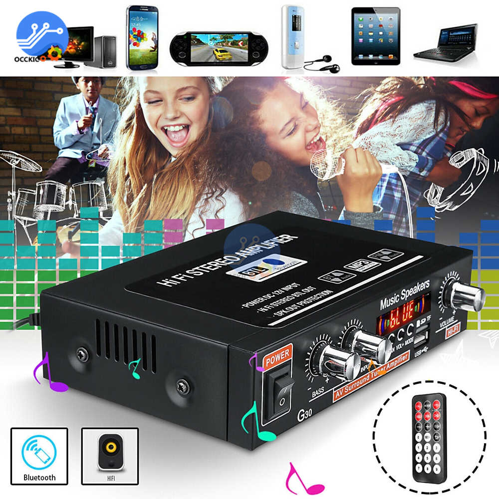 G30 Digital Home Amplifier Bluetooth HIFI Stereo Subwoofer Music Player Support FM TF AUX 2 Channel With Remote Control