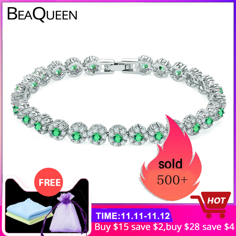Beaqueen na moda verde e branco zircônia cúbica conjunto de pedra senhoras tênis pulseiras prata 925 jóias para mulher b100