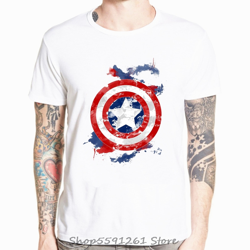 Captain America Distressed Shield Logo Marvel Comics Adult Shirt S-3XL Navy
