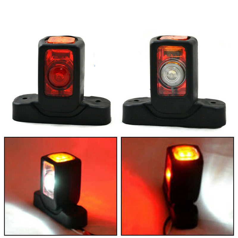 2PCS 4 LED Outline Marker Side Light Outline Lamp Car Truck Trailer Van Red White Amber Marker Lights Truck LED Light 24V 12V