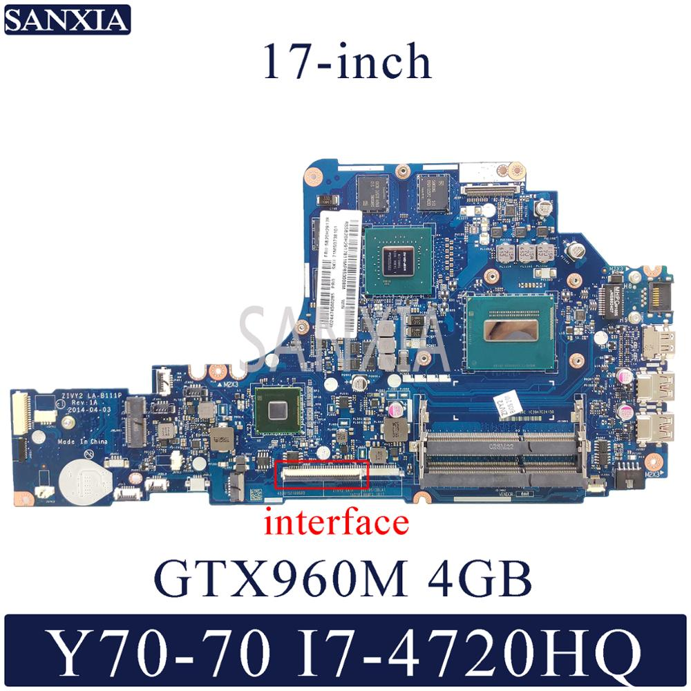 KEFU LA-B111P Laptop Motherboard For Lenovo Y70-70 17-inch Original Mainboard I7-4720HQ/4710HQ GTX960M-4GB