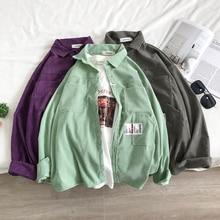 Рубашка вельветовая мужская мода сплошной цвет ретро свободного покроя мужчин уличной моды диких свободные длинным рукавом Мужские рубашки м-2XL