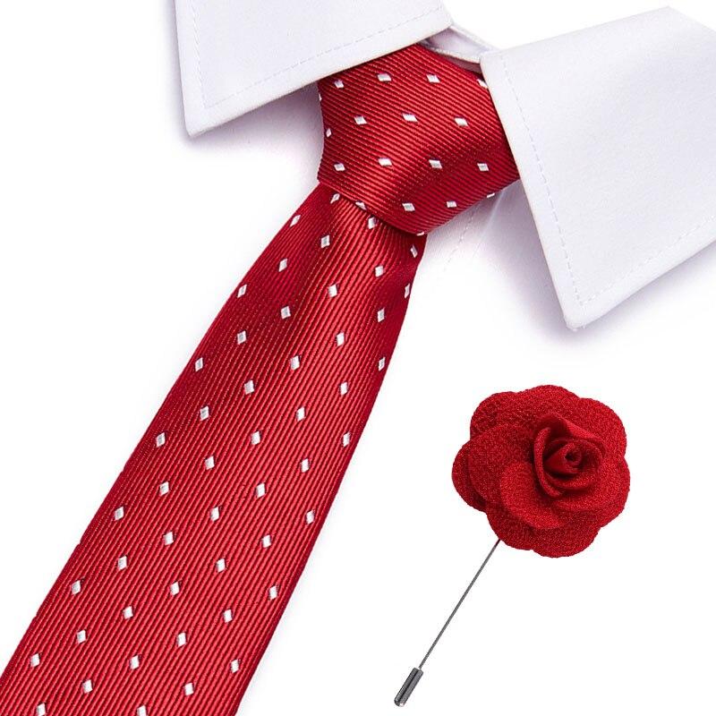 7.5cm Ties Brooch Set New Brand Man Fashion Dot Striped Neckties  Gravata Tie Classic Business Formal Red Tie Set