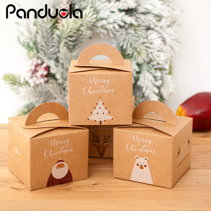 3pcs House Shape Christmas Candy Gift Bags With Ropes Xmas Tree Cookie Bags Merry Christmas Guests Packaging Boxes Party Decor