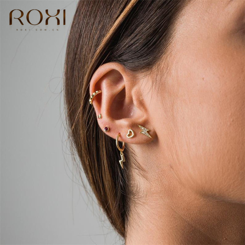 ROXI Simple Rhinestone Lightning Small Stud Earrings for Women CZ Thunder Earings Fashion Jewelry 925 Sterling Silver Earrings